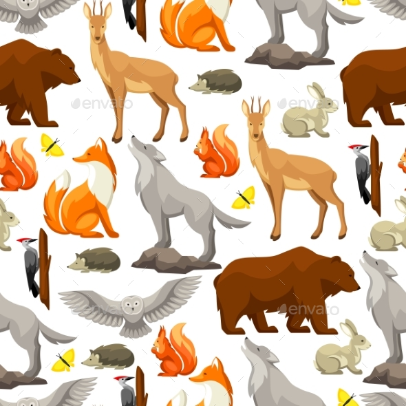 Seamless Pattern with Woodland Forest Animals - Animals Characters