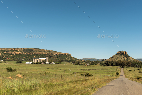 View of Modderpoort near Ladybrand in the Eastern Free State - Stock Photo - Images