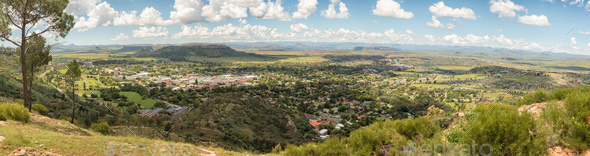 Panorama of Ficksburg in South Africa and Maputsoe in Lesotho - Stock Photo - Images