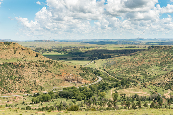 Aerial view of the landscape to the south of Ficksburg - Stock Photo - Images