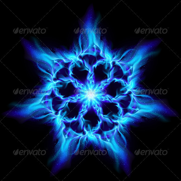 Blue Fire Flower - Tattoos Vectors