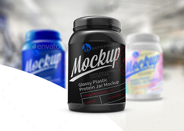 Glossy Plastic Protein Jar Poster Mockup - Product Mock-Ups Graphics