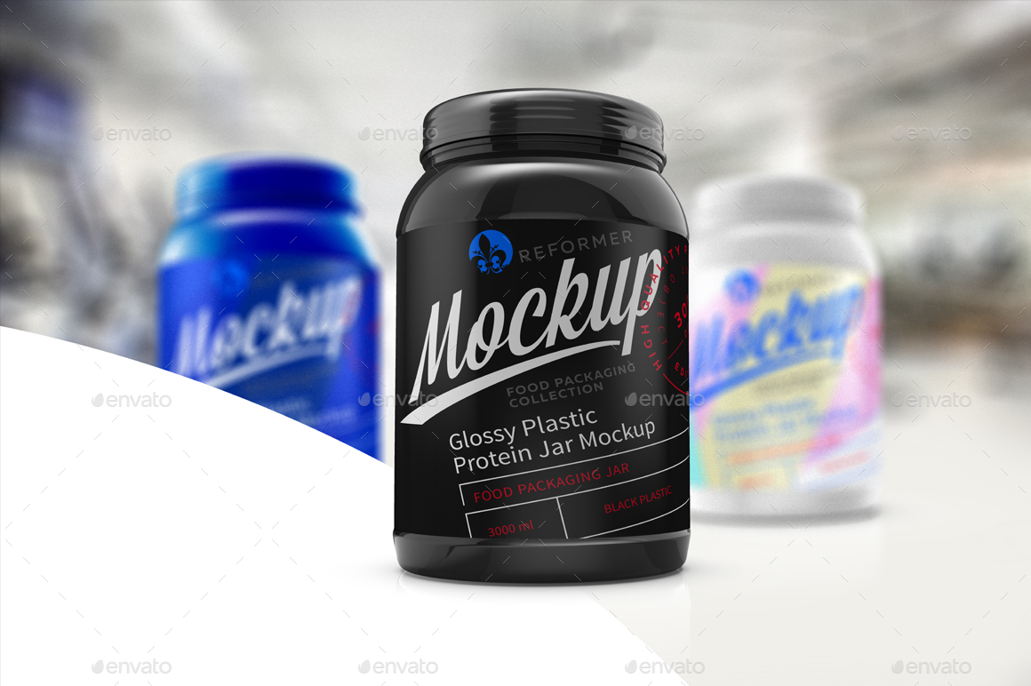 Download Glossy Plastic Protein Jar Poster Mockup by _Reformer_ ...