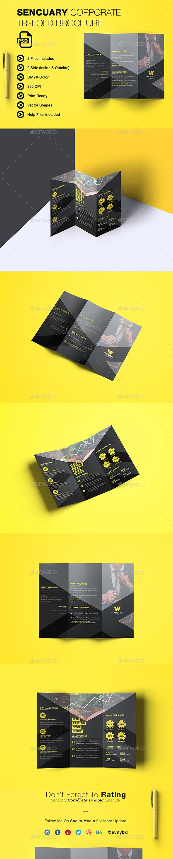 Sencuary Coporate Tri-fold Brochure - Brochures Print Templates