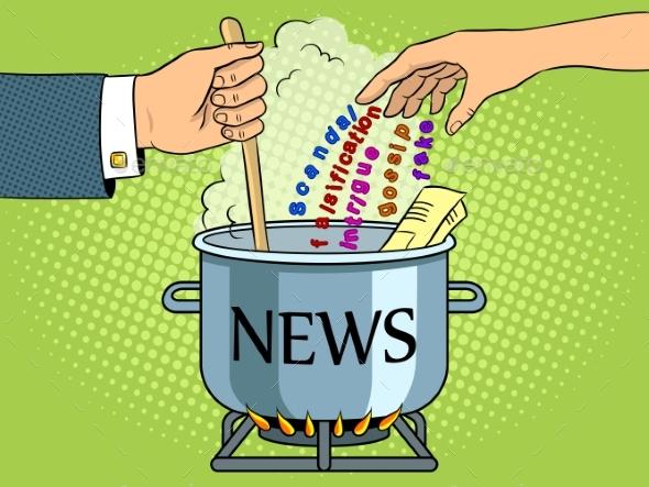 News Production Metaphor Pop Art Vector - Miscellaneous Vectors