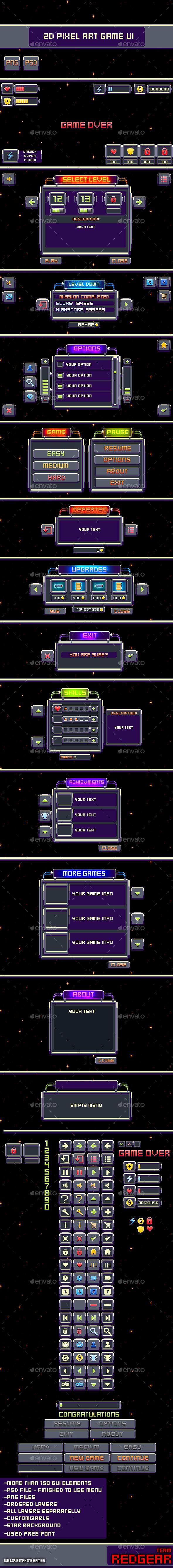 2D Pixel Art Game UI - User Interfaces Game Assets