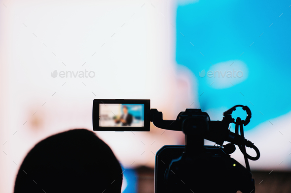 Camera Recording Presentation Of A Speaker - Stock Photo - Images