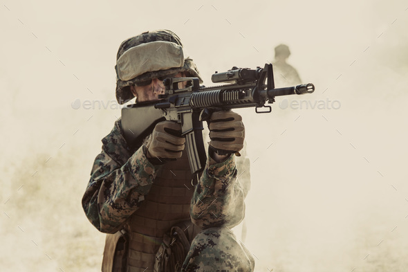 US Marines in action. Desert sandstorm - Stock Photo - Images