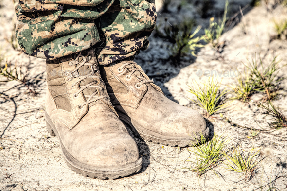 Combat boots in the desert - Stock Photo - Images