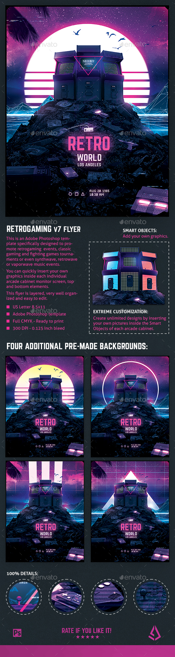 Retro Gaming Flyer v7 Synth World Neon Gaming Template - Miscellaneous Events
