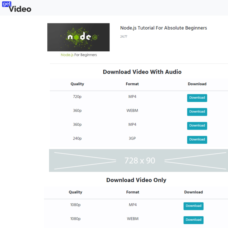 GetVideo - NodeJS Youtube Video Downloader