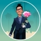 Cartoon Male Clown in Black Suit with Rose in Hand - GraphicRiver Item for Sale