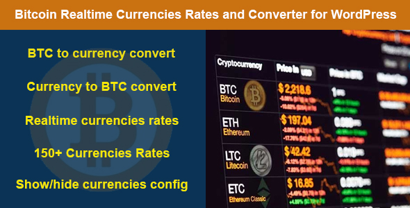 Bitcoin Realtime Currencies Rates and Converter for WordPress