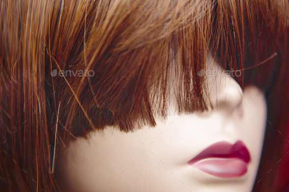 Female dummy head detail. Artificial woman. Imitation of life. Horizontal - Stock Photo - Images