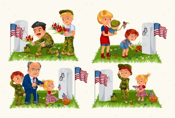 Senior Man with Children in Military Cemetery - People Characters
