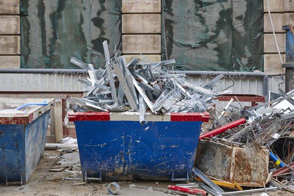 Removal of debris. Construction waste. Building demolition. Devastation background - Stock Photo - Images