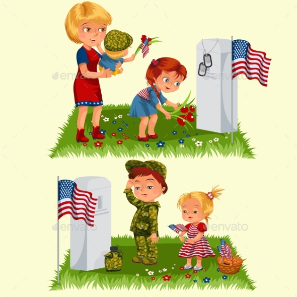 Memorial Day, Mother with Child on Cemetery - Seasons/Holidays Conceptual