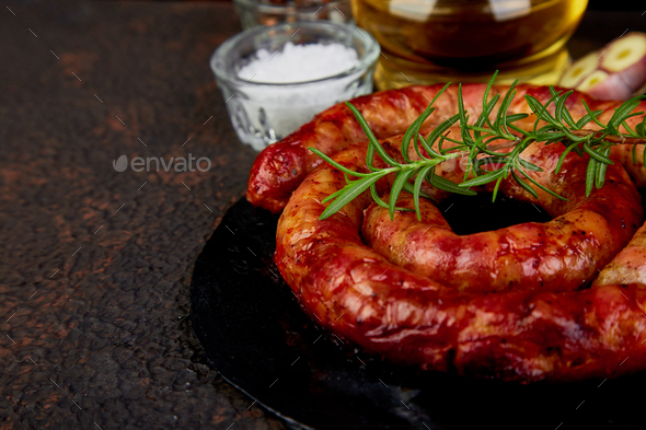 Grilled  or Roasted spiral pork sausages - Stock Photo - Images