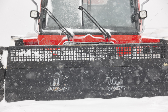 Snow blower truck covered by snow. Winter time. Snowing. Horizontal - Stock Photo - Images