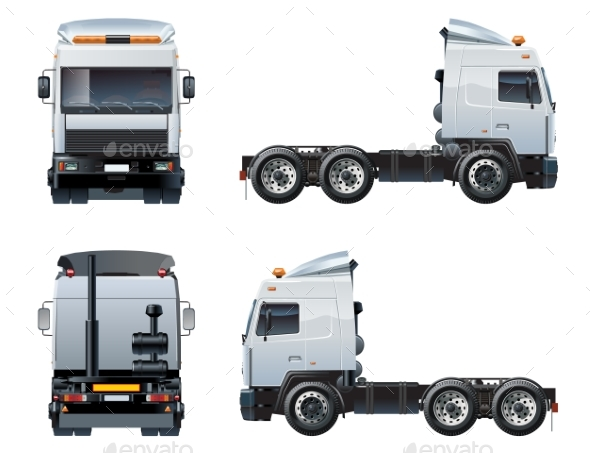 Vector Semi-Truck Template Isolated on White - Man-made Objects Objects