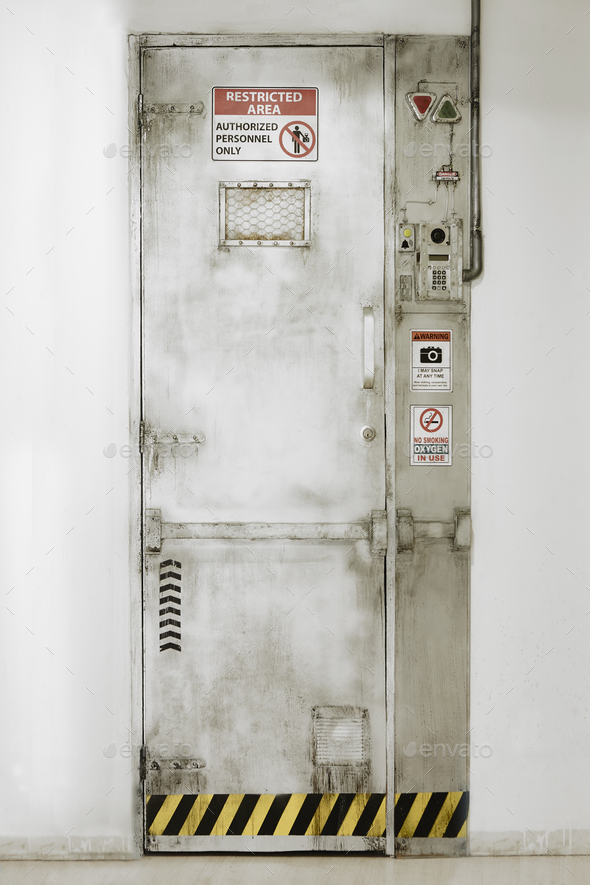 Restricted area door. Authorized personnel. Security entrance. Vertical  - Stock Photo - Images