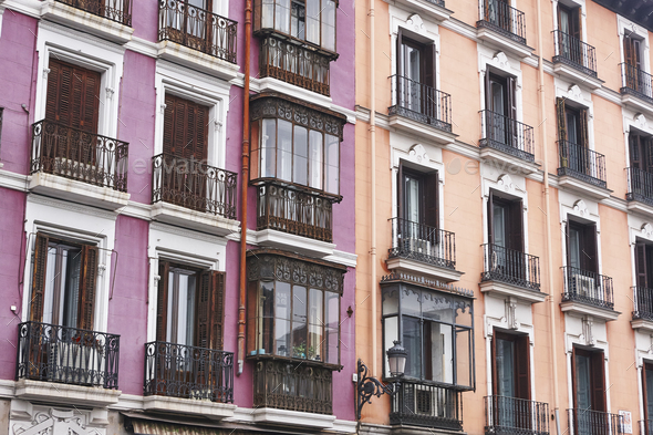 Antique building classic colored facades in Madrid city center. Spain - Stock Photo - Images