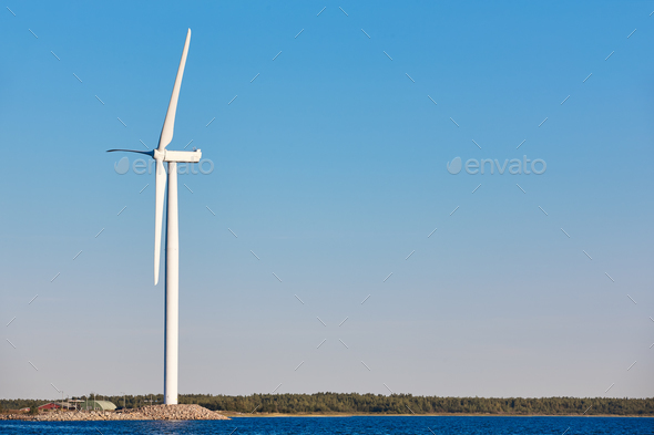 Windmill in the baltic sea. Renewable clean and green energy. Finland - Stock Photo - Images