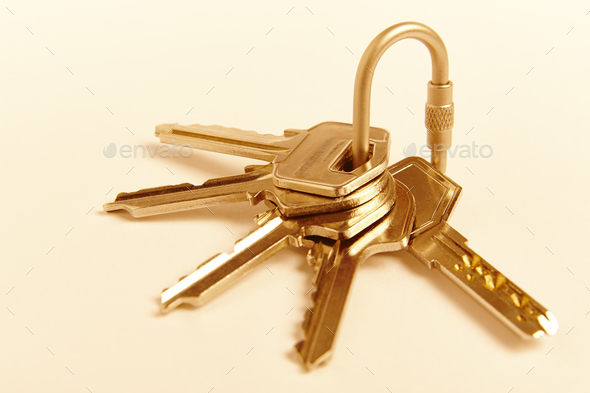 Key ring with keys on golden tone. Rent, buy. Home - Stock Photo - Images