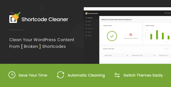Shortcode Cleaner - Clean WordPress Content from Broken Shortcodes - CodeCanyon Item for Sale