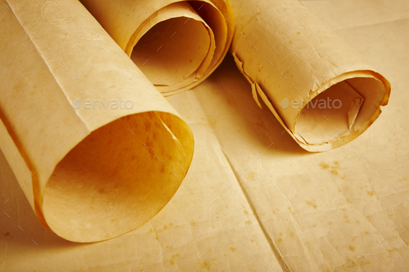 Old aged blank rolled parchments. Antique documents. Vintage manuscripts. Horizontal - Stock Photo - Images