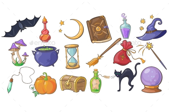 Halloween Magic and Spell Set - Miscellaneous Vectors