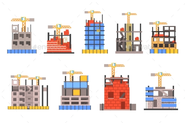 Unfinished Modern Building Construction Set - Industries Business