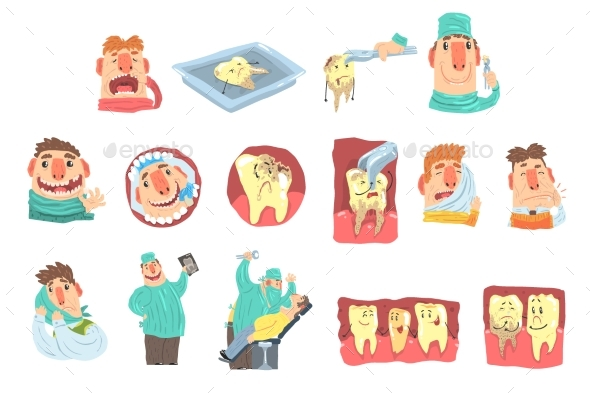 Cartoon Dentist and Patient Illustration Set - Health/Medicine Conceptual