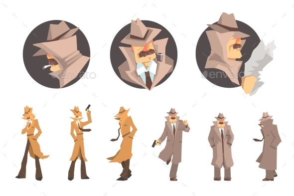 Police Detective and Private Investigator at Work - People Characters