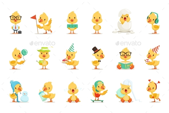 Little Yellow Duck Different Emotions - Animals Characters