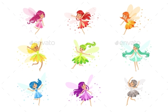 Colorful Rainbow Set of Fairies - People Characters
