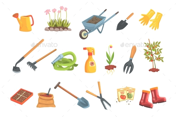 Gardeners Equipment Set of Objects - Flowers & Plants Nature