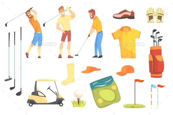Three Golfers Surrounded By Sport - Sports/Activity Conceptual