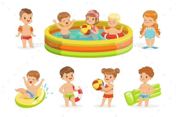 Small Children Having Fun in Pool - People Characters