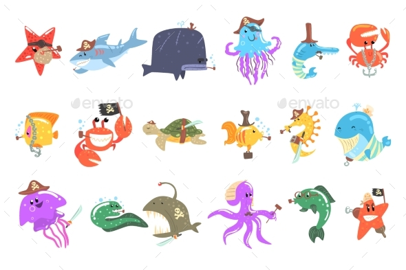 Marine Animals and Underwater Wildlife With Pirate - Animals Characters