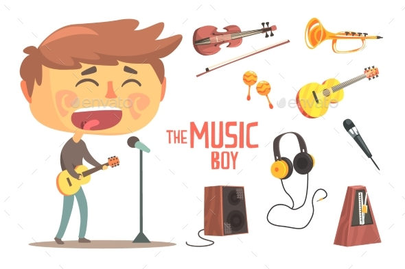 Boy Singer and Musician Kids Future Dream - Man-made Objects Objects