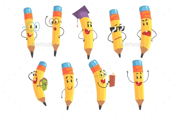 Humanized Pencil Character With Arms and Face - Miscellaneous Vectors