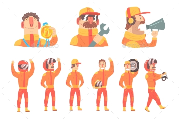 Racing Team Members in Orange Uniforms - People Characters