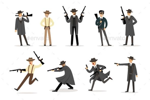 American Mafia Mob Members - People Characters
