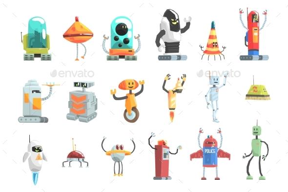 Different Design Public Service Robots Set - Computers Technology
