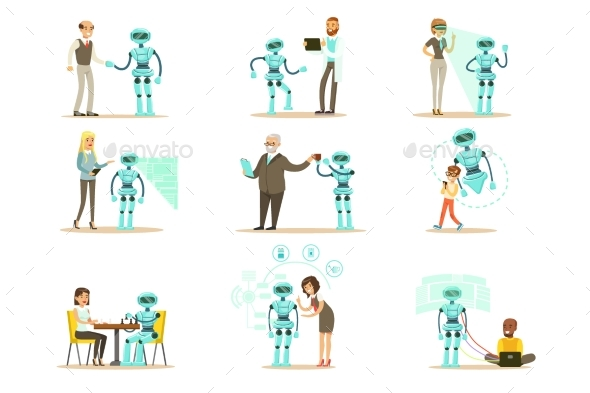 Smiling People and Robot Assistants - People Characters