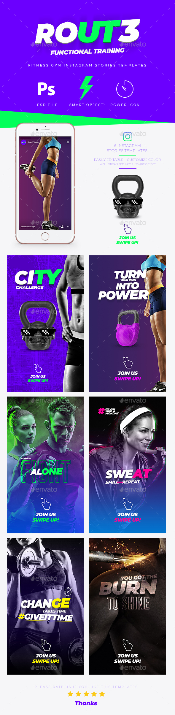 Fitness GYM Instagram Stories Banner Templates - Social Media Web Elements
