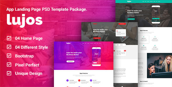 Lugos – App Landing Page PSD Package