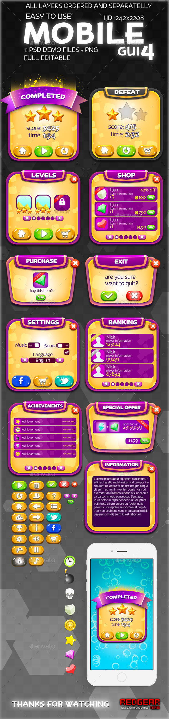 Mobile GUI Pack #4 - User Interfaces Game Assets
