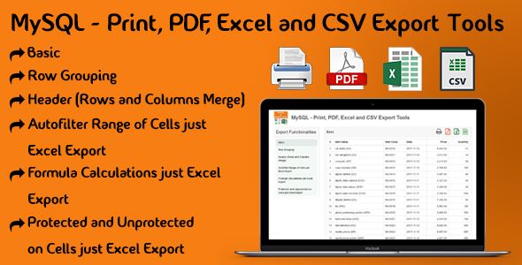 MySQL - Print, PDF, Excel and CSV Export Tools - CodeCanyon Item for Sale